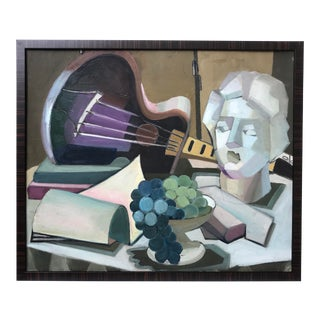 Mid Century Modern Cubist Oil Painting C.1950 For Sale