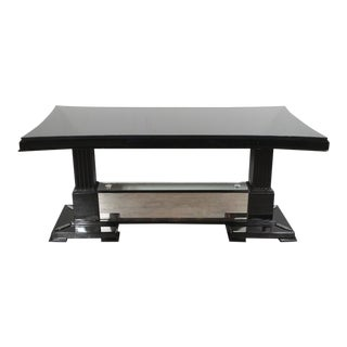 Hollywood Regency Black Lacquer& Silver Leaf Cocktail Table by Grosfeld House For Sale