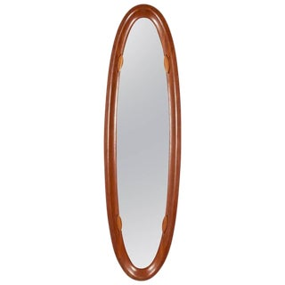 Tall Oval Mahogany Mirror Made in Italy For Sale
