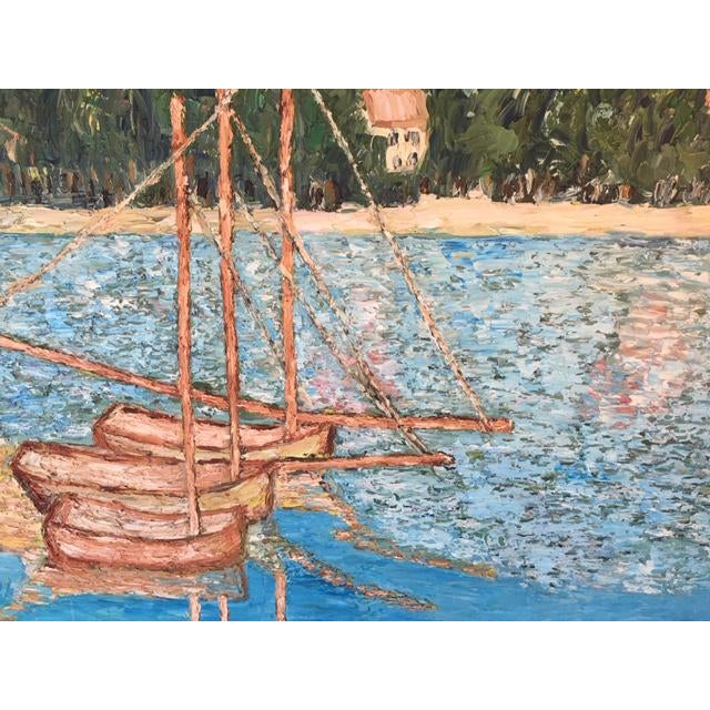 Mid 20th Century Vintage Mid-Century S. Kim Impressionist Inspired Seascape Oil Painting For Sale - Image 5 of 10