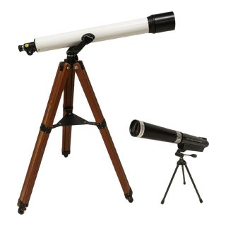 Vintage Paralux Telescope on Tall Wooden Stand and Small Proloisirs Telescope on Metal Stand - Set of 2 For Sale