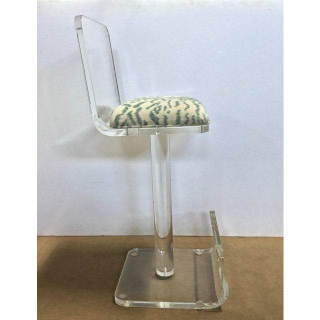 Set of Three Vintage Lucite Bar Stools, Newly Upholstered Seat For Sale In New York - Image 6 of 13