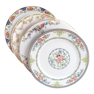 Vintage Mismatched Fine China Luncheon Plates - Set of 4