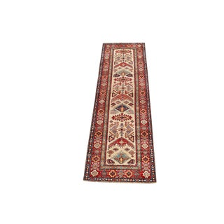 Traditional Kazak Style Wool Runner Rug - 2′11″ × 9′10″ For Sale