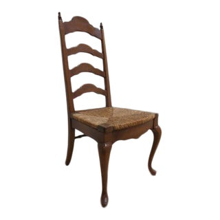 Vintage Ladder Back Rush Seat Side Chair