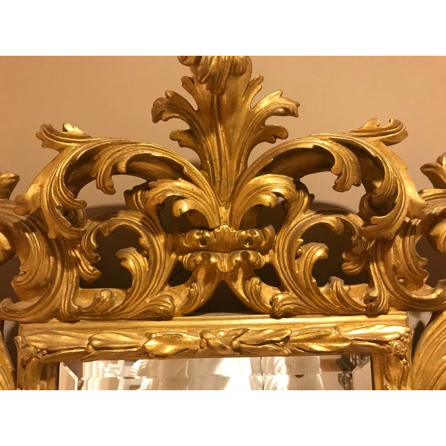 Antiqued Art Deco Gold Brocade Wall Mirror For Sale - Image 10 of 11