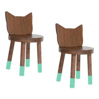 Nico & Yeye Kitty Kids Chair Solid Walnut and Walnut Veneers Mint - Set of 2 For Sale