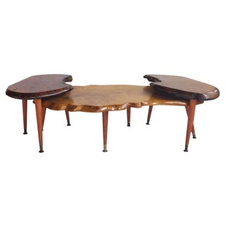 Two-Tiered Two-Toned Live-Edge Coffee Table