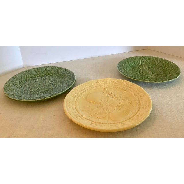 Mid-Century Modern Mid-Century Modern Portuguese Green and Yellow Ceramic Fruit Plates - Set of 3 For Sale - Image 3 of 11