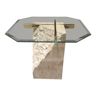 Maitland-Smith Style Tessellated Fossil Stone Brass & Glass Pedestal Table For Sale