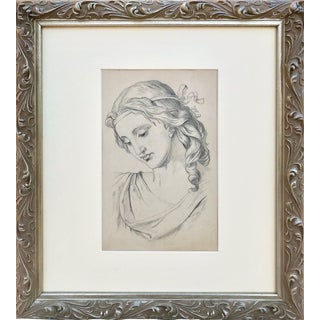 19th C Antique Renaissance Style Portrait Drawing of a Woman For Sale