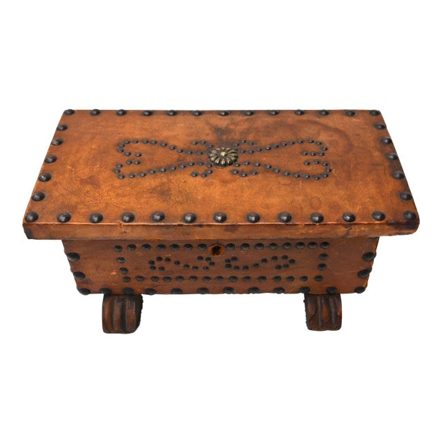 Old West Brass Studded Embellished Leather-Clad Small Box For Sale