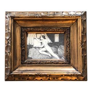 Original Vintage Etching FemaleNude at Window Ornate Frame For Sale