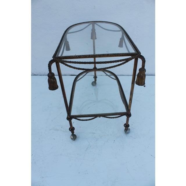 Italian Hollywood Regency Gilt Metal Bar Cart - Image 3 of 9