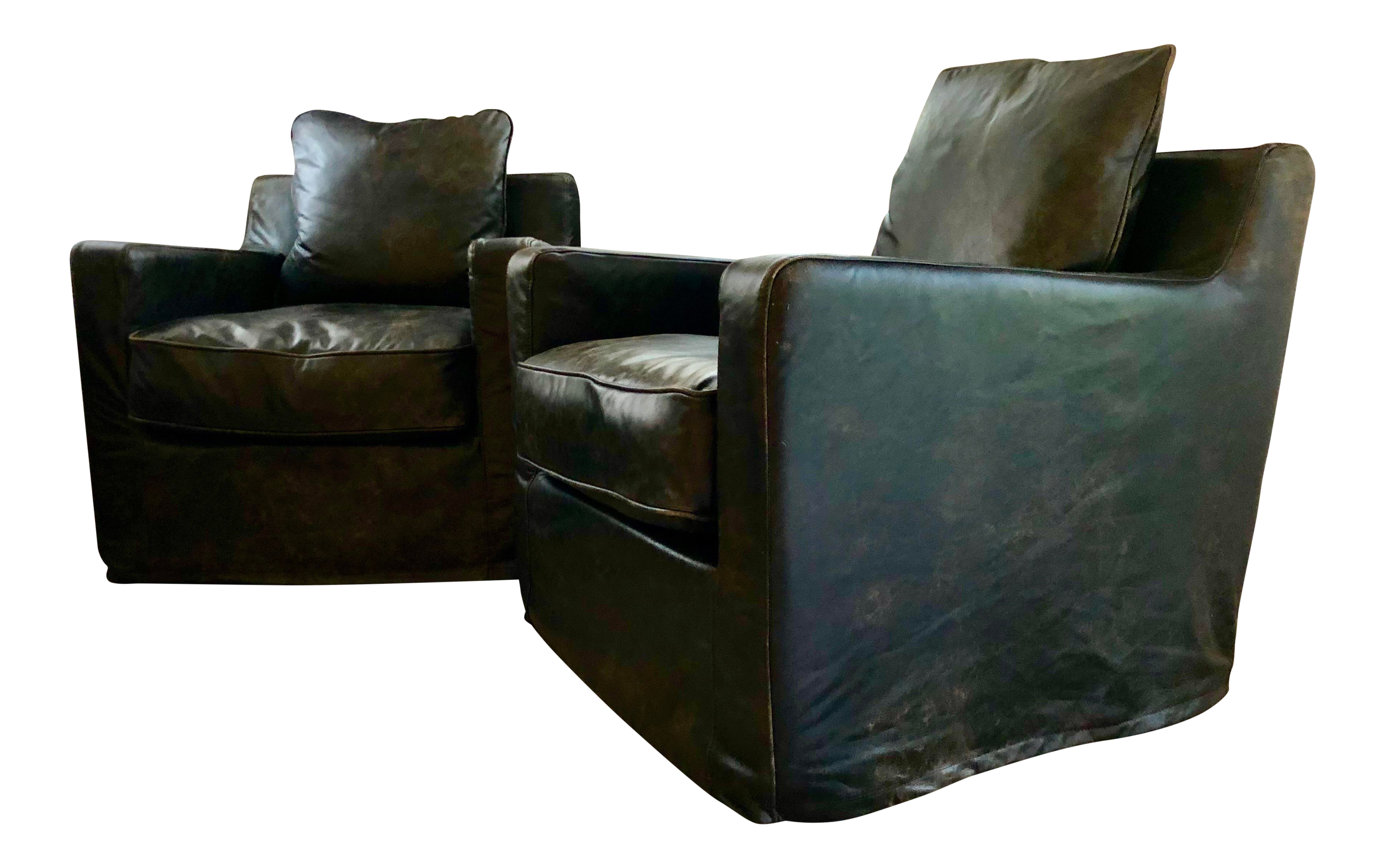 Hd Buttercup Black/Brown Leather Swivel Chairs   A Pair