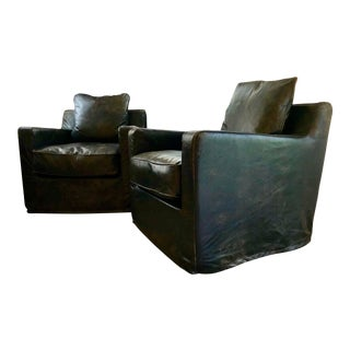 Jayson Home Ebony Leather Swivel Chairs - a Pair For Sale