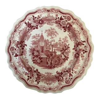 Antique William Adams & Sons Staffordshire Red Transferware Plate For Sale