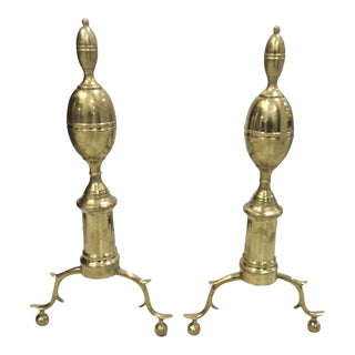 Brass Lemon Top Andirons - a Pair For Sale
