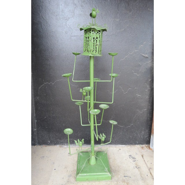 1940s Vintage Green Wrought Iron Bird Motif 11 Candle Garden Fixture For Sale - Image 5 of 5