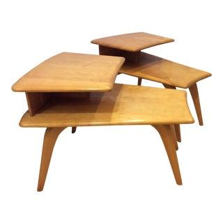 Heywood-Wakefield Tiered Birchwood Wedge Tables - a Pair