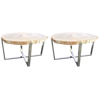 Petrified Wood and Chrome-Plated Steel Base Tables - A Pair For Sale