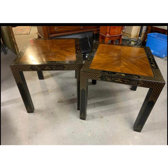 Drexel Heritage Etc Cetera Chinoiserie Parsons Tables a Pair For Sale In Pittsburgh - Image 6 of 7