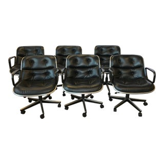 1980s Knoll Black Leather Executive Pollack Desk Chairs - Set of 6 For Sale