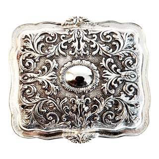 Victorian Silver Plated Velvet Lined Jewelry Box For Sale