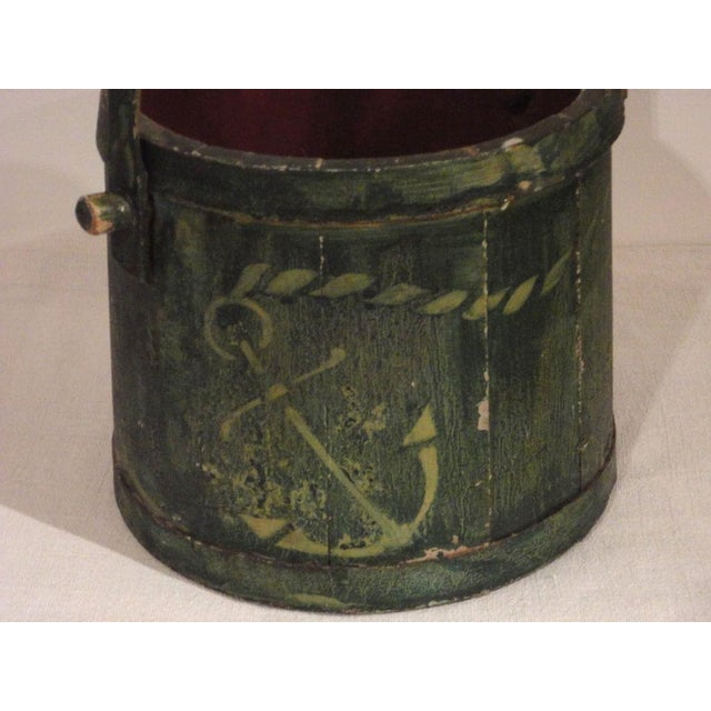 19th Century Nautical Original Painted and Decorated Water Bucket from NE - Image 5 of 8