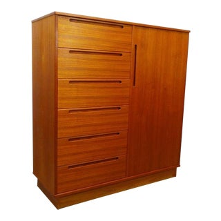 1960s Danish Modern Large Teak Wardrobe Gentleman's Chest