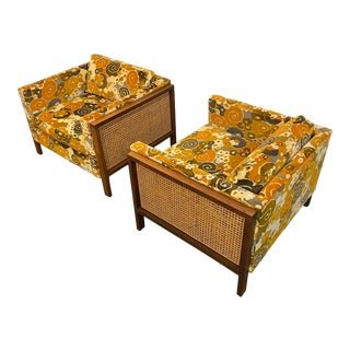 Directional Furniture Club Chairs Upholstered in Jack Lenor Larsen Fabric - a Pair For Sale