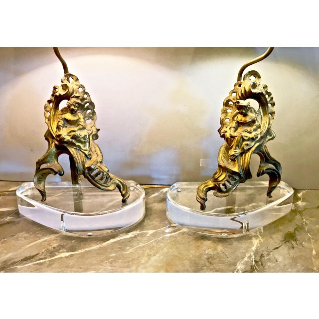 Late 18th Century Pair 18th C. Figural Chenets Lamps For Sale - Image 5 of 9