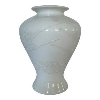 Large Haeger Pottery Vase Textured White on White Ceramic For Sale