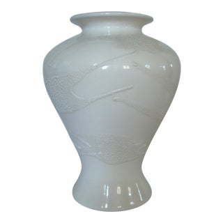 Late 20th Century Textured White on White Vase Haeger Pottery Ceramic For Sale