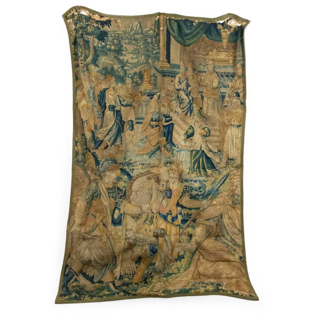 Gray Antique Late 17th/Early 18th Century Belgian Tapestry Depicting Soldiers in a Genre Scene For Sale - Image 8 of 8