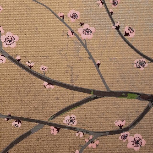 Metal 1970s Gold Leaf and Silk Japanese Shōwa Era Byobu Screen With Green Birds and Sakura For Sale - Image 7 of 12