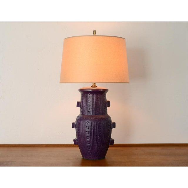 Purple Mid Century Modern Purple Pottery Table Lamp For Sale - Image 8 of 13