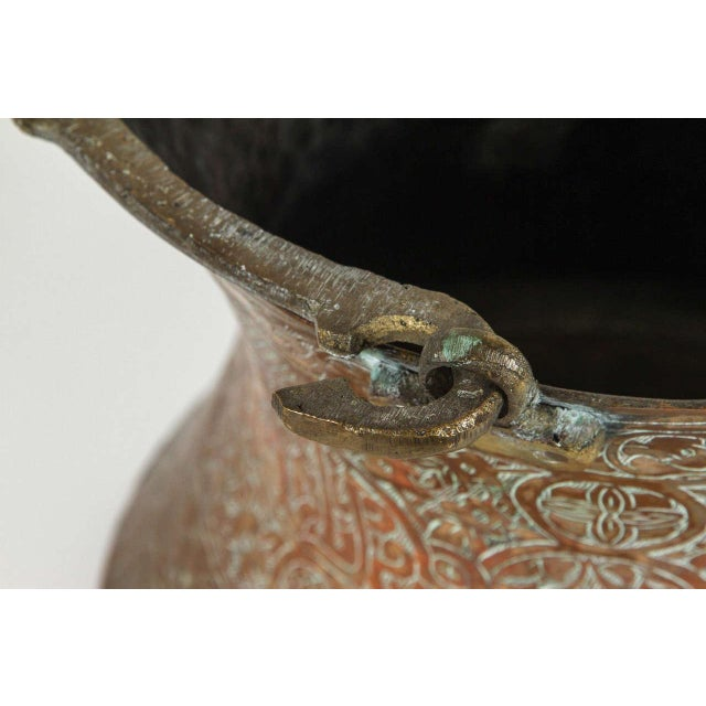 Large 19th Century Persian Copper Bucket With Handle For Sale In Los Angeles - Image 6 of 9