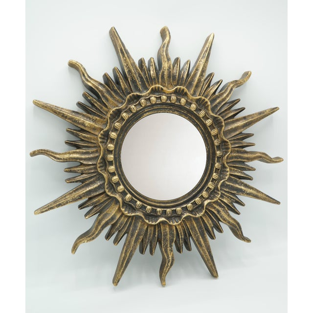 Mid 20th Century French Golden Gilt Sunburst Mirror For Sale - Image 5 of 12