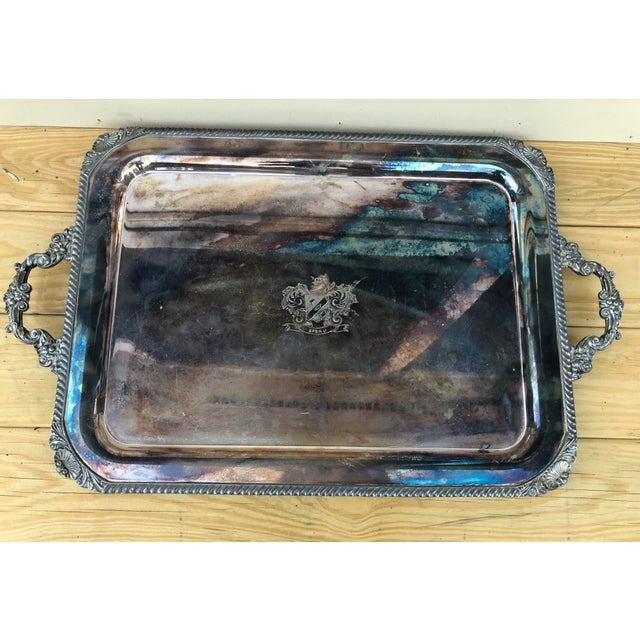 Copper Vintage Silver on Copper Tray For Sale - Image 8 of 8