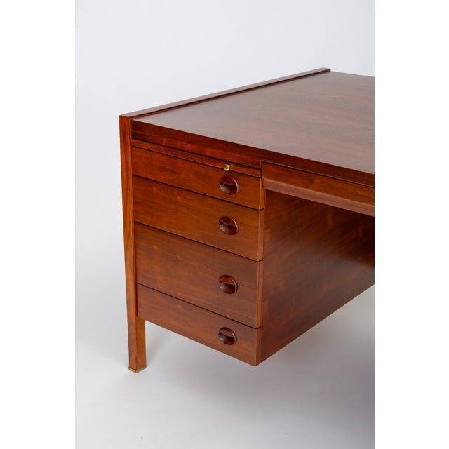 Brass Edward Wormley for Dunbar Walnut Executive Desk With Rosewood and Brass Details For Sale - Image 7 of 13
