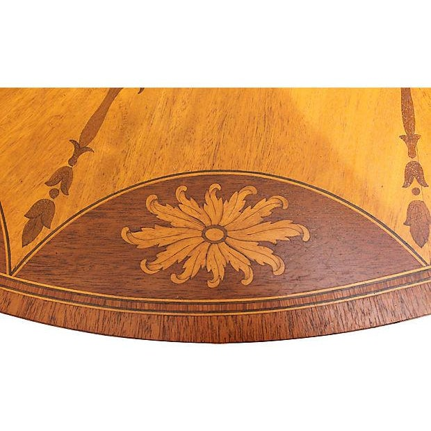 Wood Inlay Demilune Console Table - Image 2 of 9