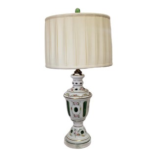 Emerald Green Bohemian Glass Lamp on Lucite For Sale