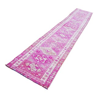 1970s Vintage Turkish Oushak Pink Runner Rug - 2′10″ × 15′5″ For Sale