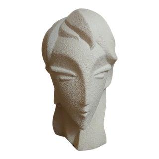 1970s Vintage White Plaster Head Sculpture For Sale