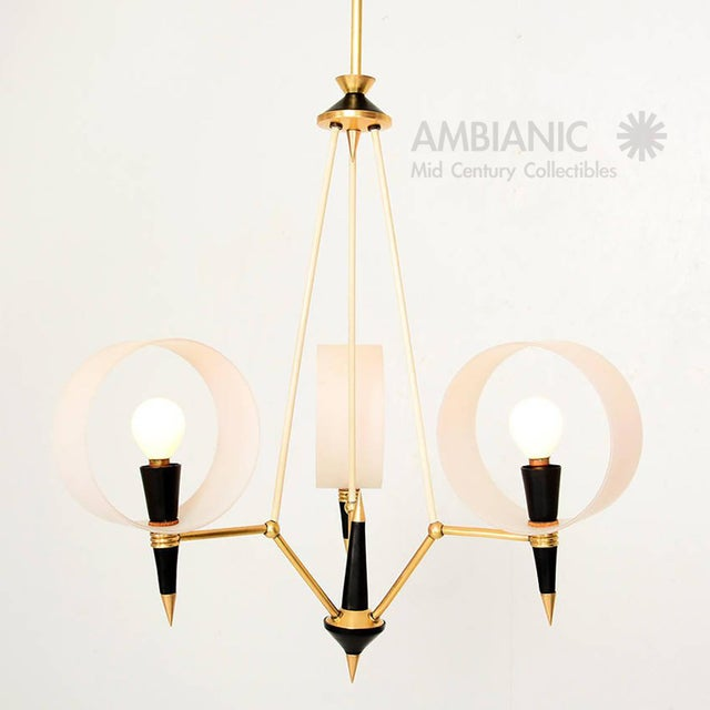 For your consideration an amazing sculptural three arm chandelier. Made in Italy circa 1950s. Opaline circle diffusers...