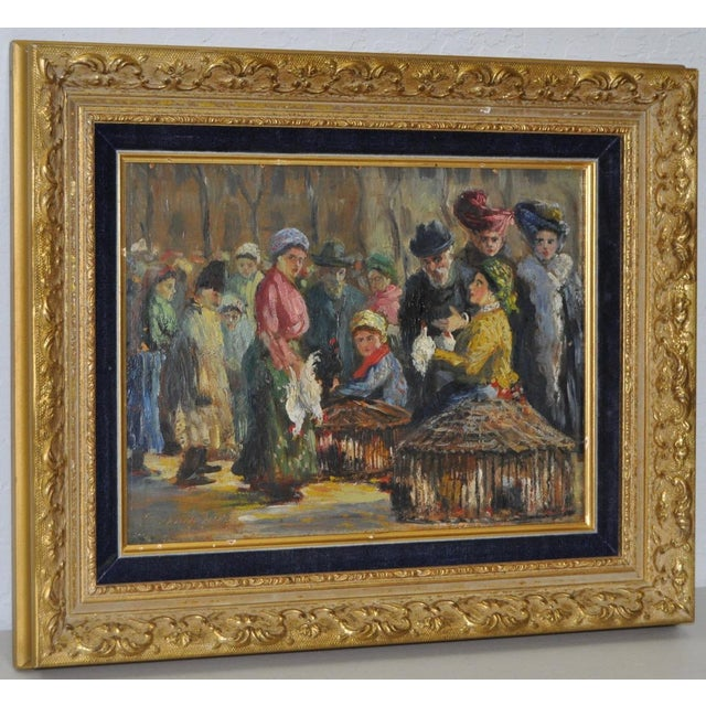 Impressionist European Market Scene Oil Painting - Image 2 of 9