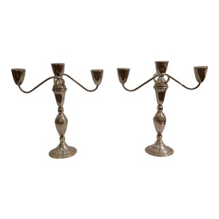 1960s Duchin Creation Weighted Sterling Silver Candelabras - a Pair For Sale