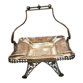 Meridan Silver Co Quadruple Plate Basket Cigar Ashtray For Sale