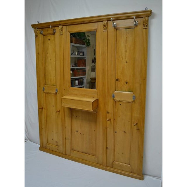 Pine Paneled Hallstand With Mirror For Sale - Image 4 of 9